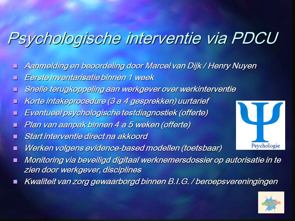 Psychologische interventie via PDCU