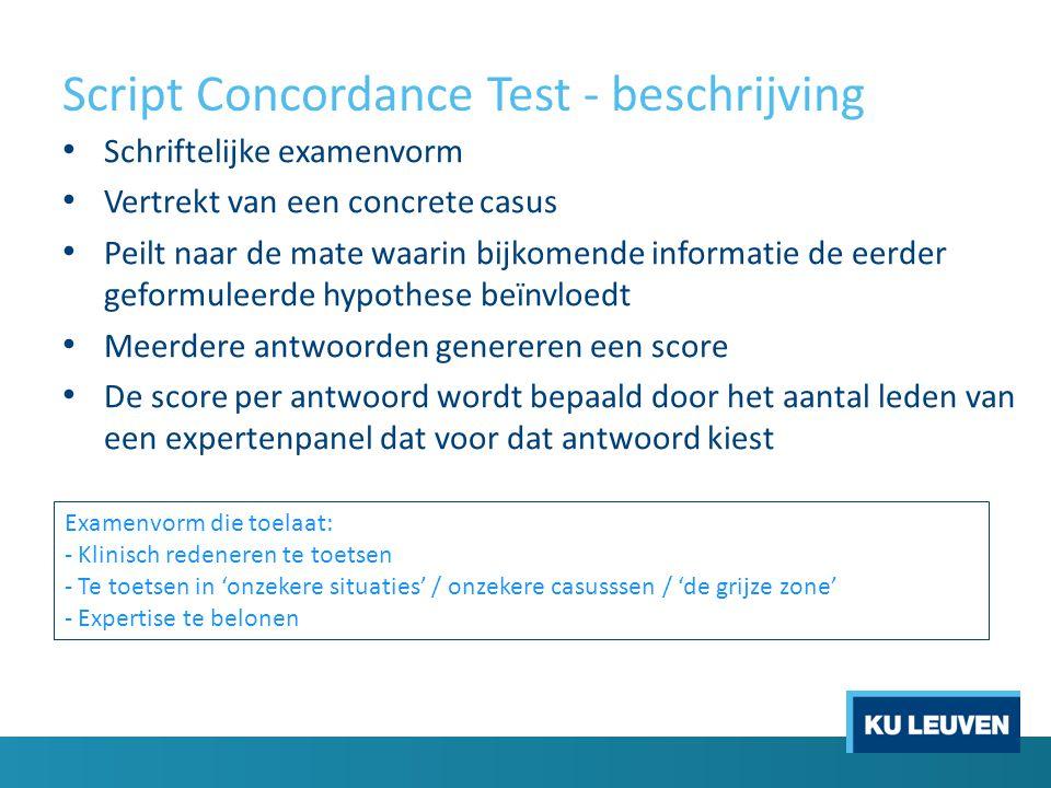 Script Concordance Test - beschrijving