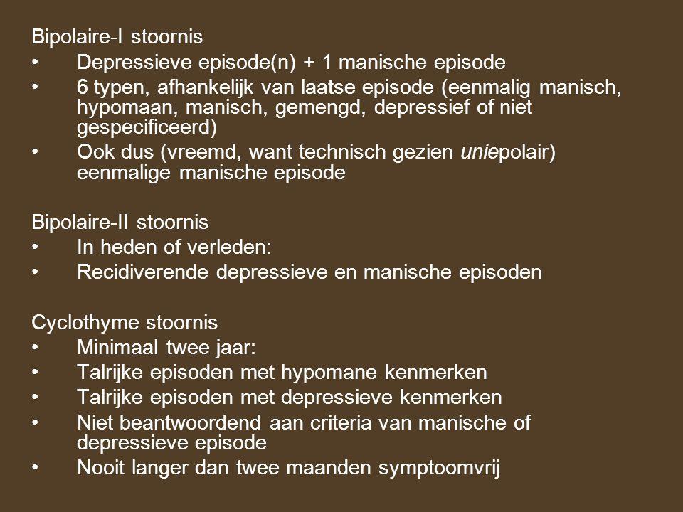Bipolaire-I stoornis Depressieve episode(n) + 1 manische episode.