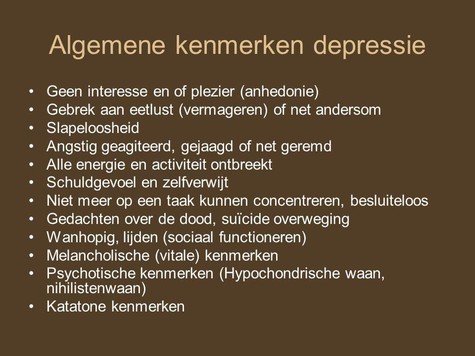 Algemene kenmerken depressie