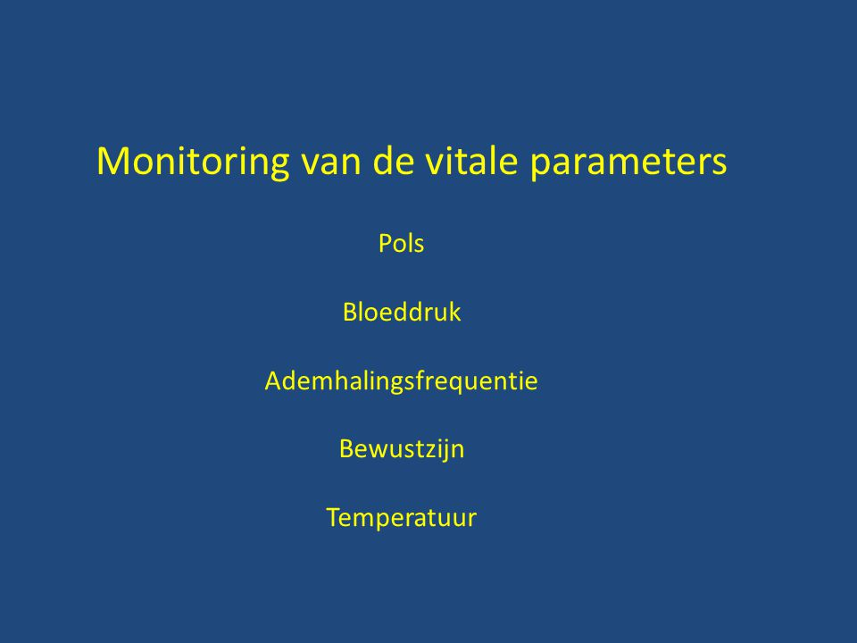 Monitoring van de vitale parameters