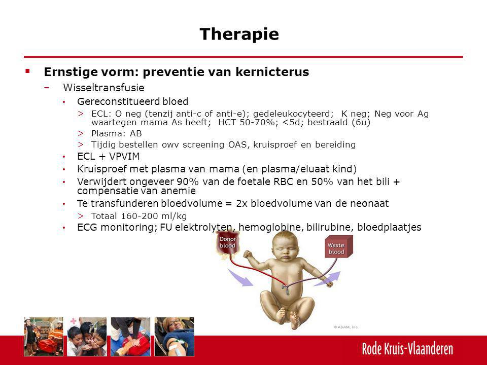Therapie Ernstige vorm: preventie van kernicterus Wisseltransfusie