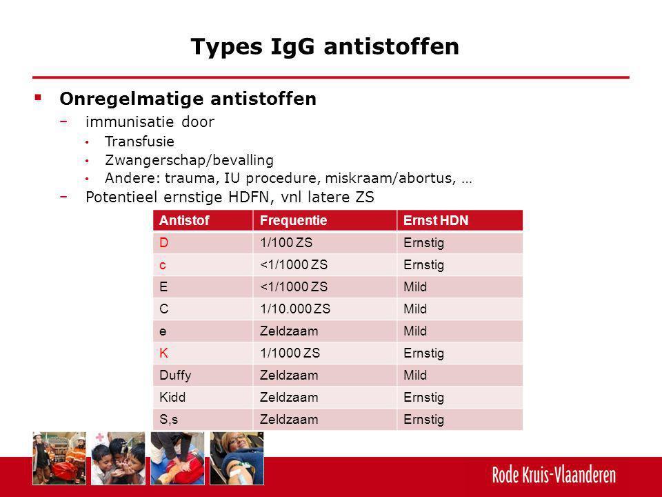 Types IgG antistoffen Onregelmatige antistoffen immunisatie door