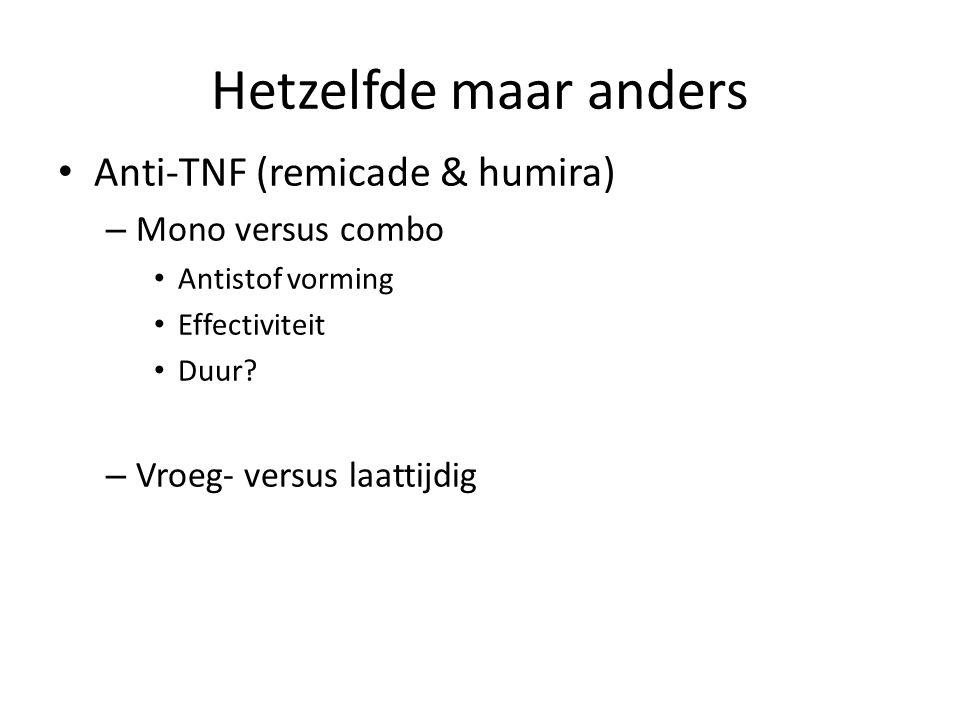 Hetzelfde maar anders Anti-TNF (remicade & humira) Mono versus combo
