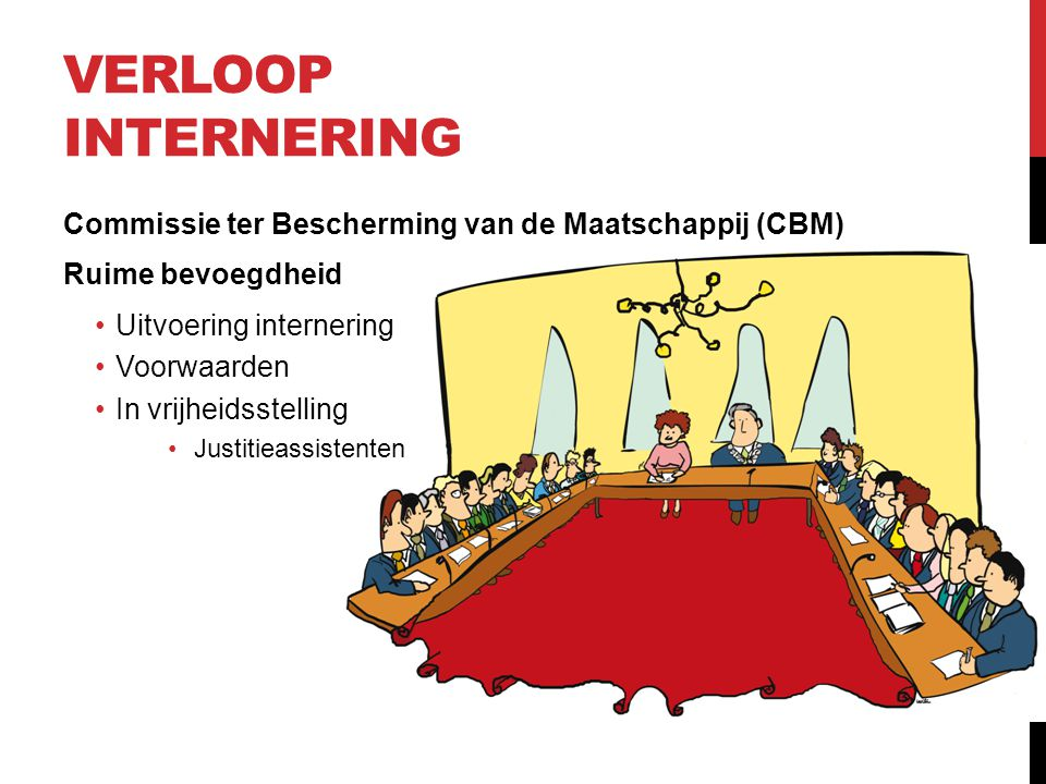 Verloop internering Commissie ter Bescherming van de Maatschappij (CBM) Ruime bevoegdheid. Uitvoering internering.