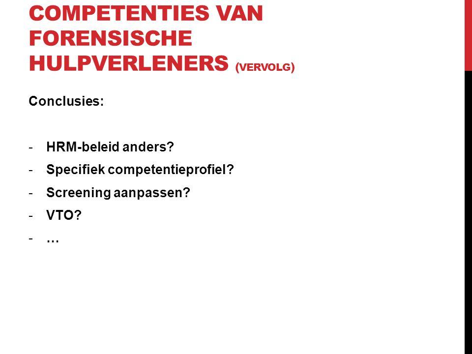 Competenties van forensische hulpverleners (vervolg)