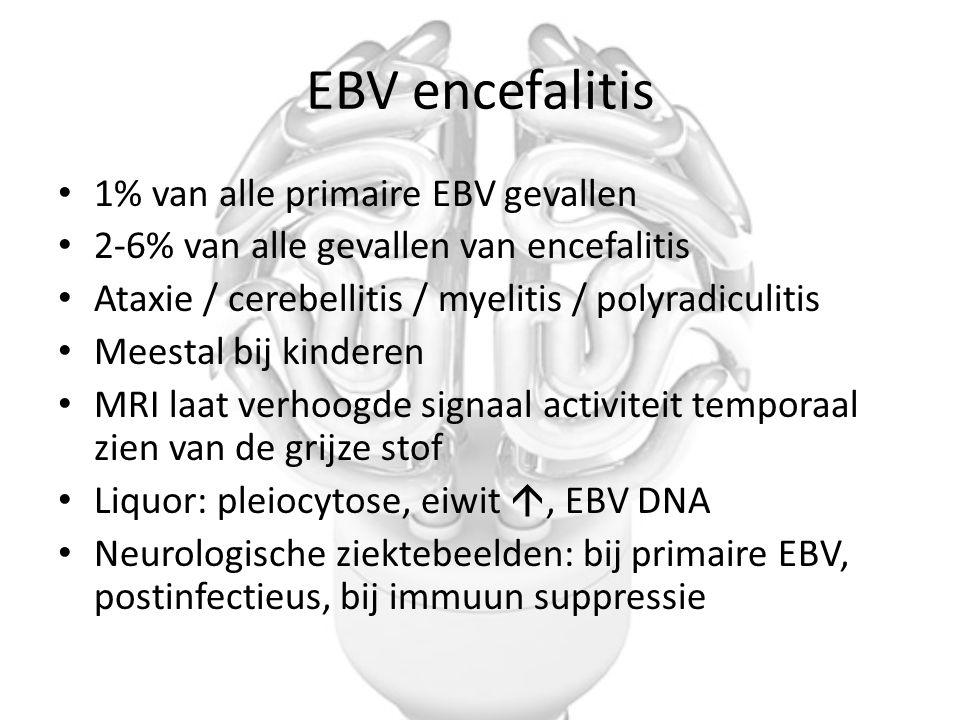 EBV encefalitis 1% van alle primaire EBV gevallen