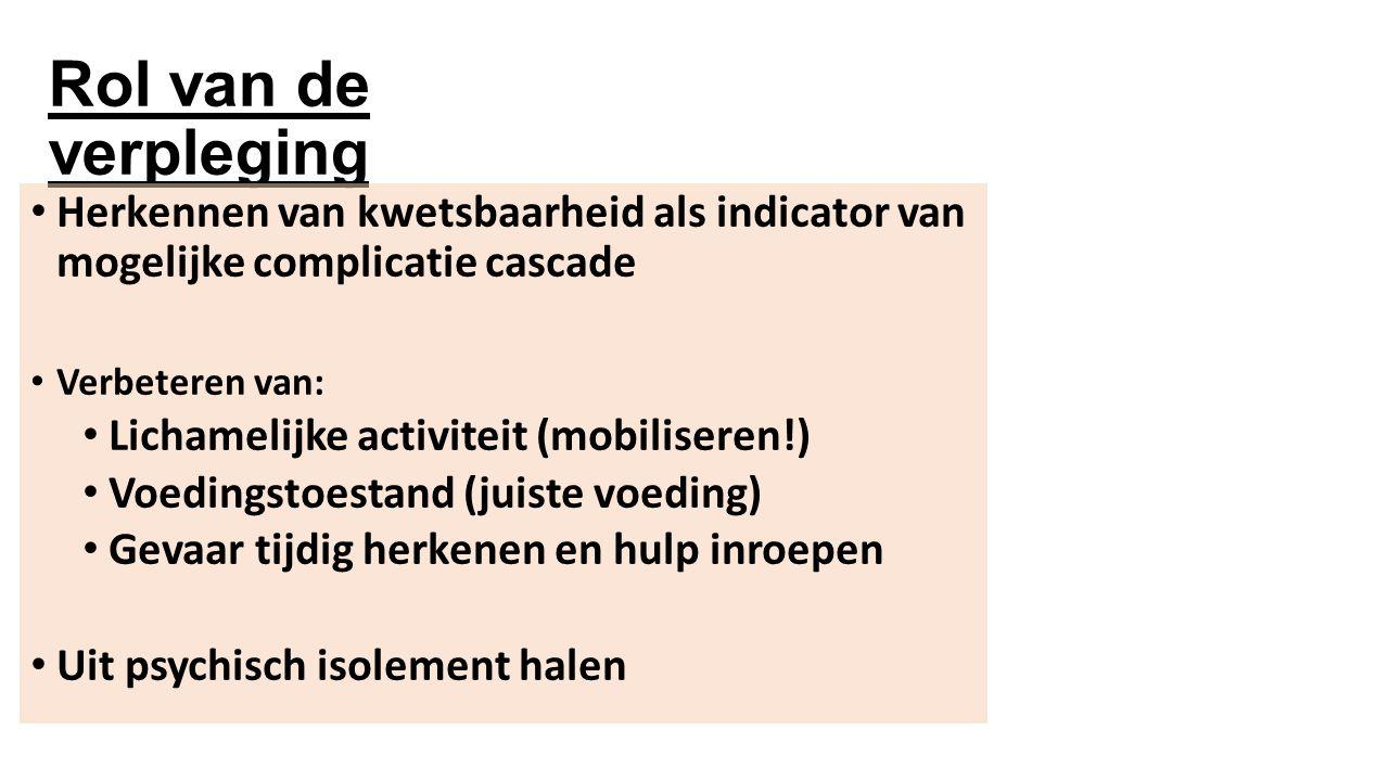 Rol van de verpleging Herkennen van kwetsbaarheid als indicator van mogelijke complicatie cascade.