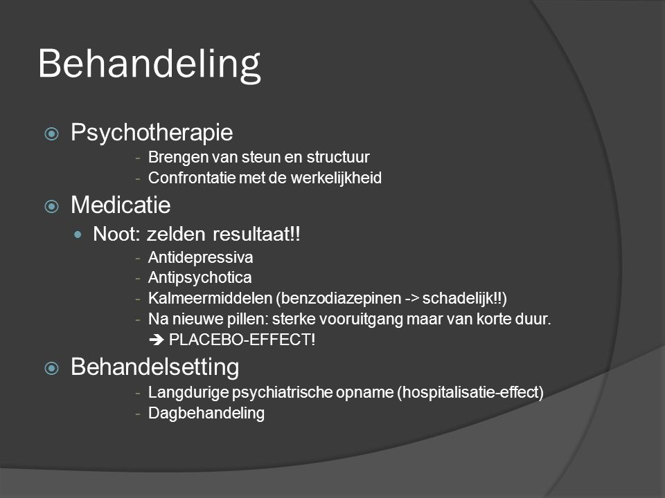 Behandeling Psychotherapie Medicatie Behandelsetting