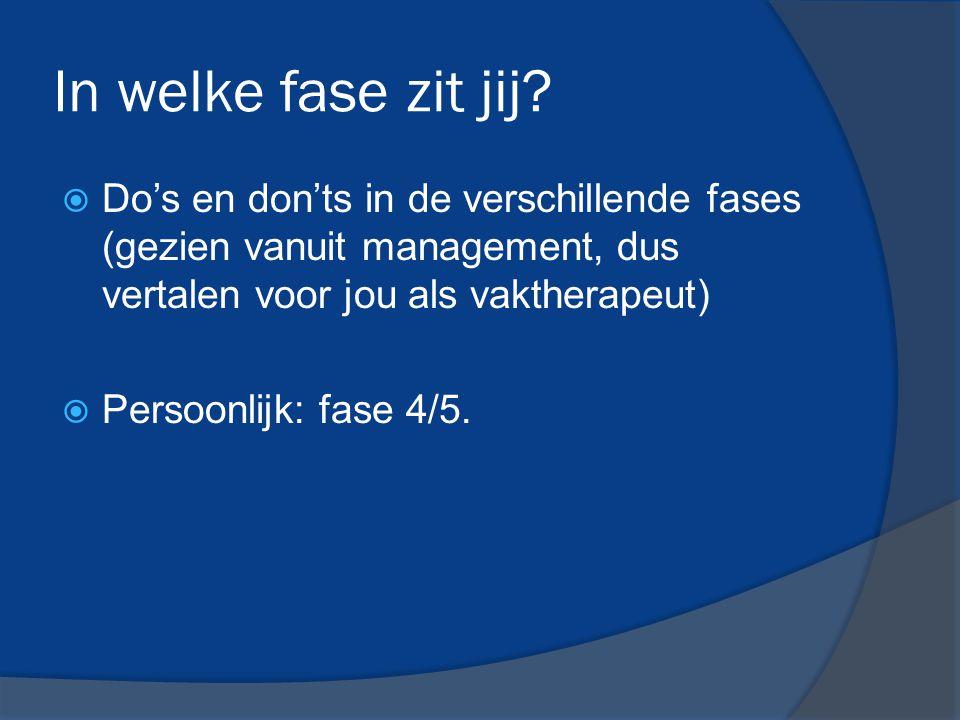 In welke fase zit jij Do's en don'ts in de verschillende fases (gezien vanuit management, dus vertalen voor jou als vaktherapeut)