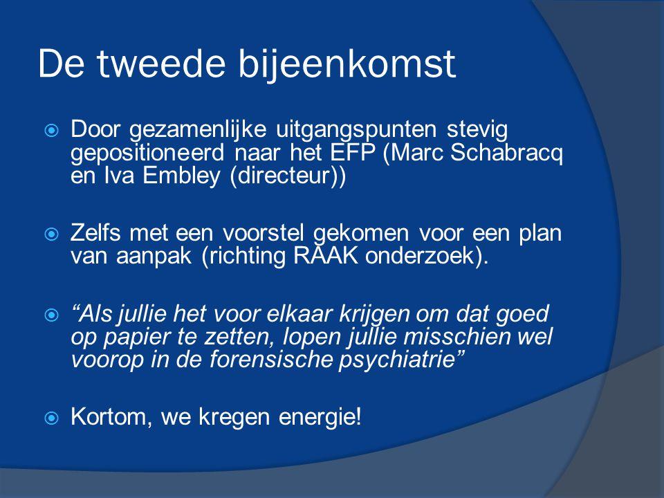 De tweede bijeenkomst Door gezamenlijke uitgangspunten stevig gepositioneerd naar het EFP (Marc Schabracq en Iva Embley (directeur))