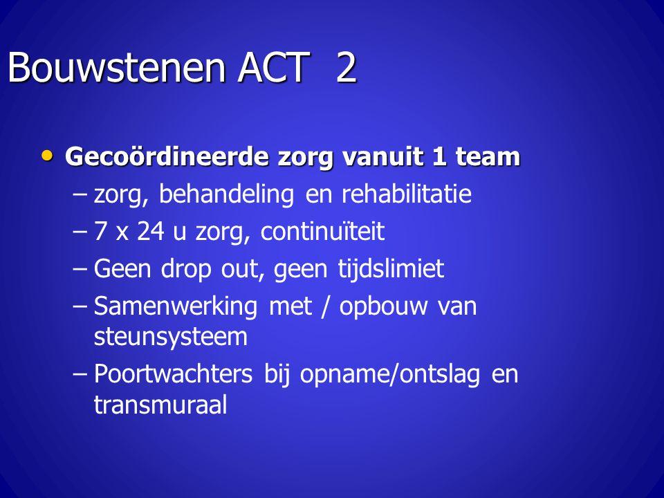 Bouwstenen ACT 2 Gecoördineerde zorg vanuit 1 team