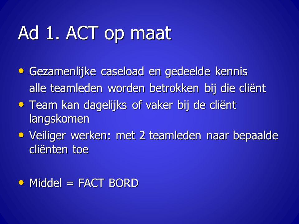 Ad 1. ACT op maat Gezamenlijke caseload en gedeelde kennis