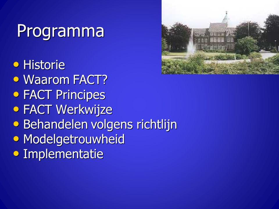 Programma Historie Waarom FACT FACT Principes FACT Werkwijze