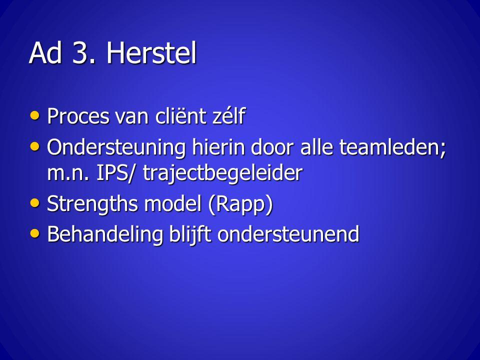 Ad 3. Herstel Proces van cliënt zélf
