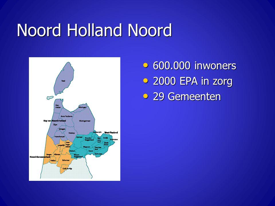 Noord Holland Noord 600.000 inwoners 2000 EPA in zorg 29 Gemeenten