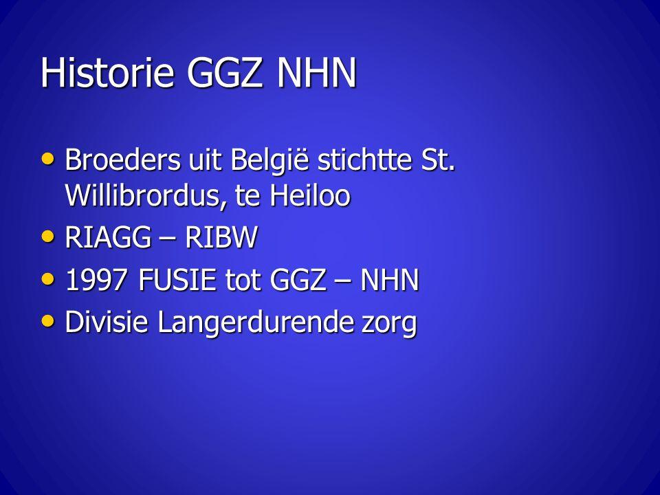 Historie GGZ NHN Broeders uit België stichtte St. Willibrordus, te Heiloo. RIAGG – RIBW. 1997 FUSIE tot GGZ – NHN.