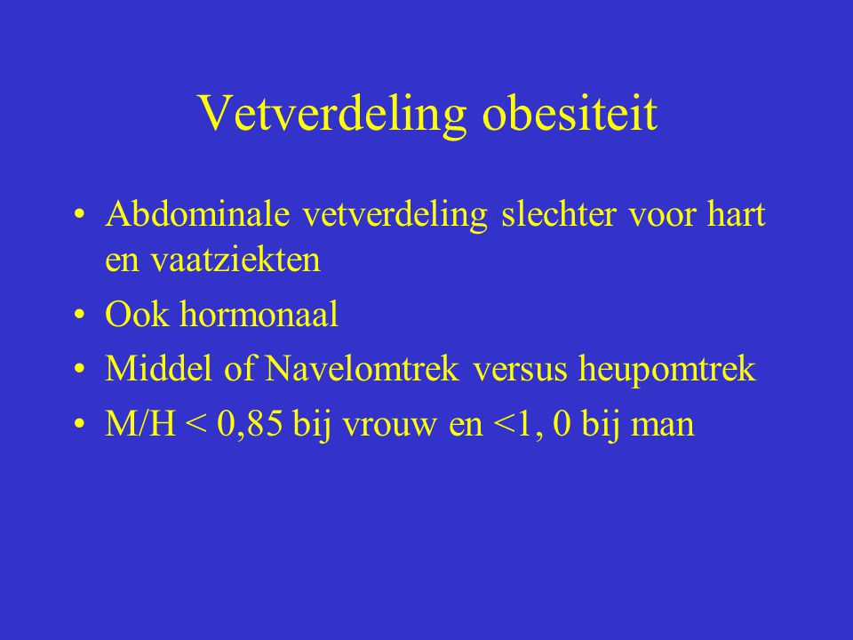 Vetverdeling obesiteit