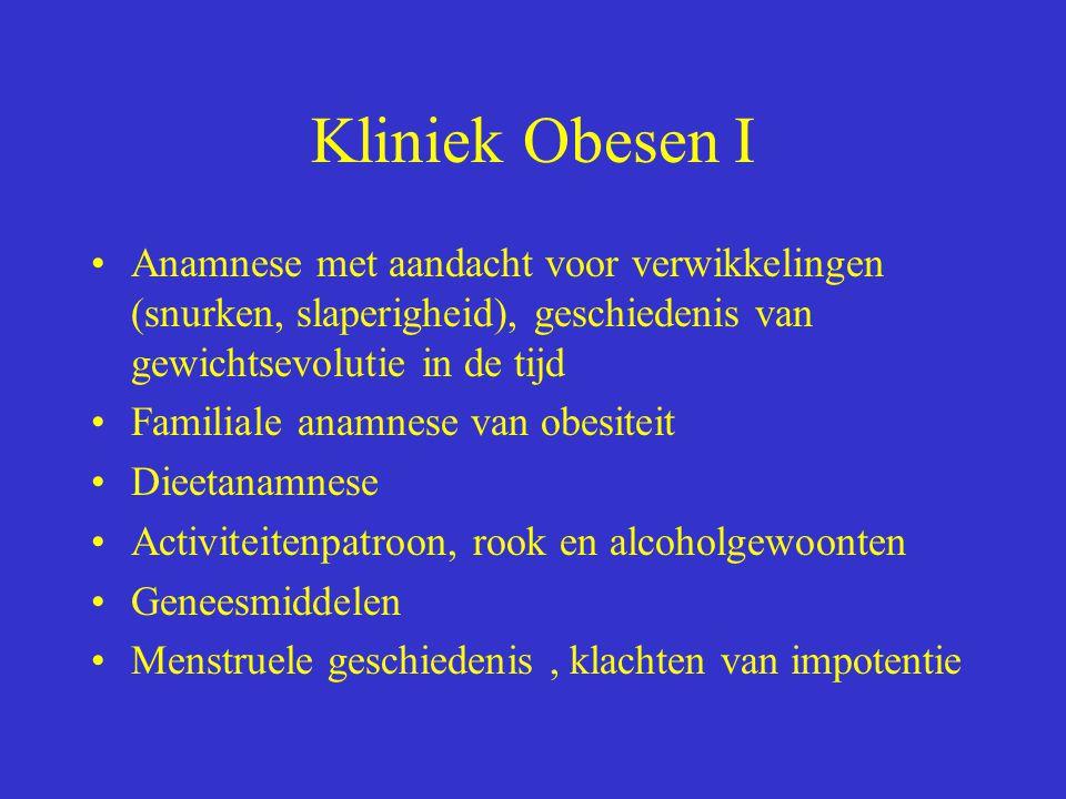 Kliniek Obesen I Anamnese met aandacht voor verwikkelingen (snurken, slaperigheid), geschiedenis van gewichtsevolutie in de tijd.