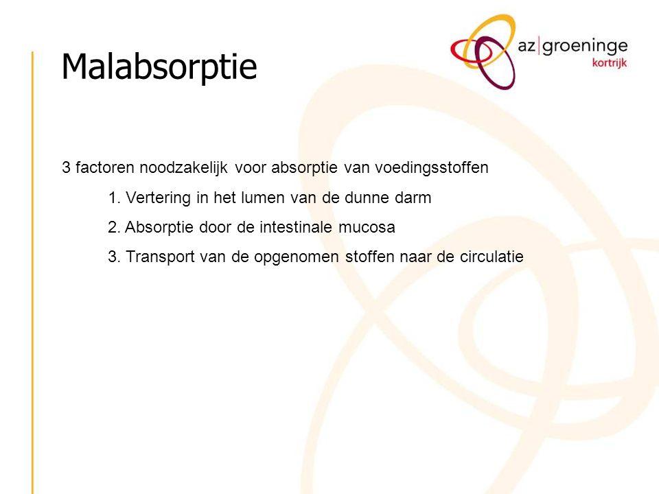 Malabsorptie 3 factoren noodzakelijk voor absorptie van voedingsstoffen. 1. Vertering in het lumen van de dunne darm.