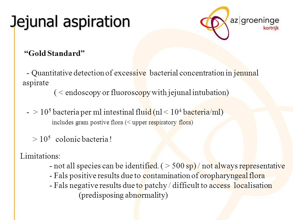 Jejunal aspiration Gold Standard - Quantitative detection of excessive bacterial concentration in jenunal aspirate.