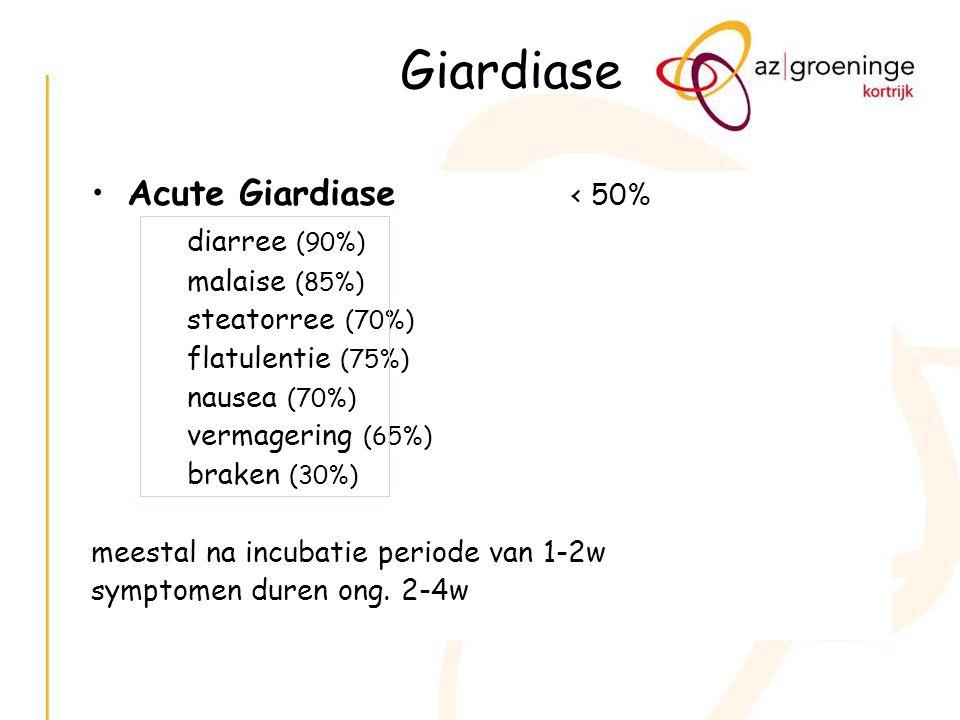 Giardiase Acute Giardiase < 50% diarree (90%) malaise (85%)