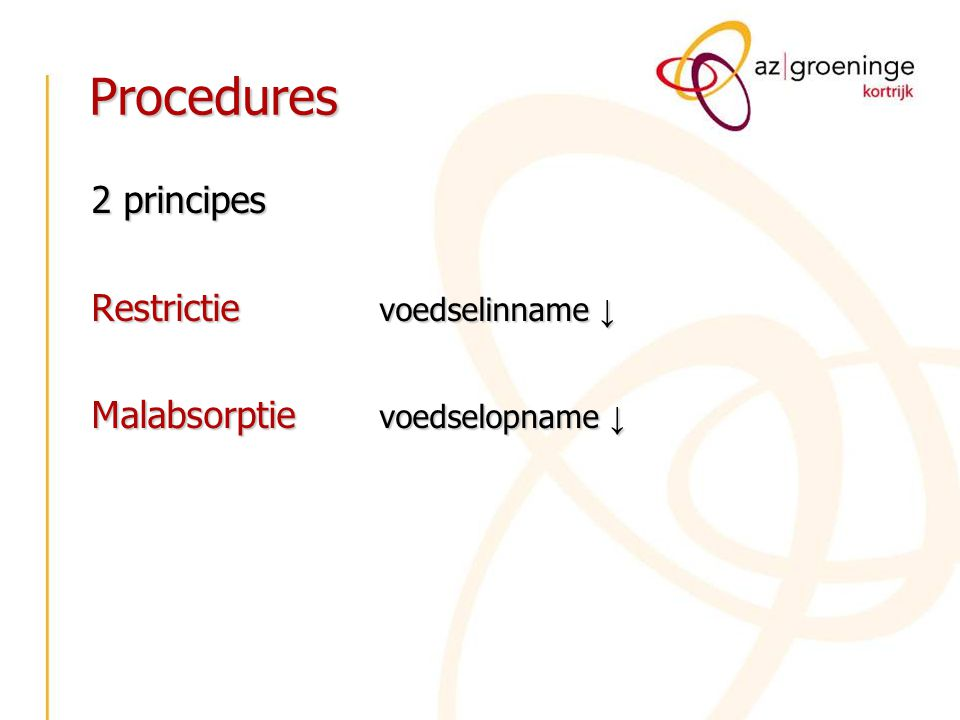 Procedures 2 principes Restrictie voedselinname ↓