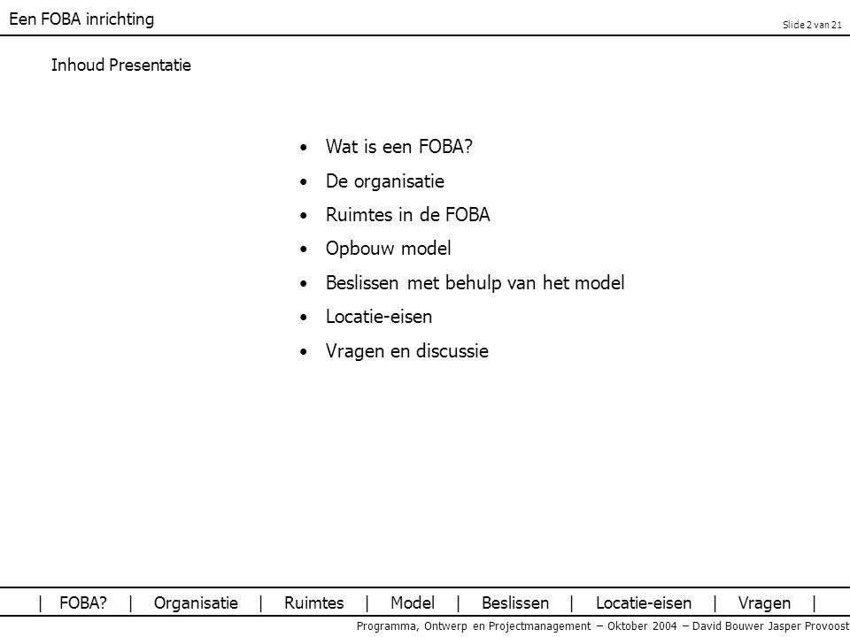 Beslissen met behulp van het model Locatie-eisen Vragen en discussie