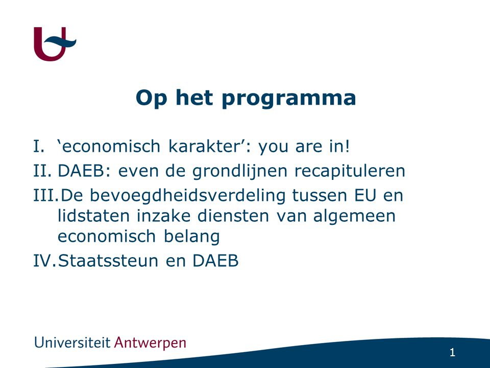 Economisch karakter: you are in!
