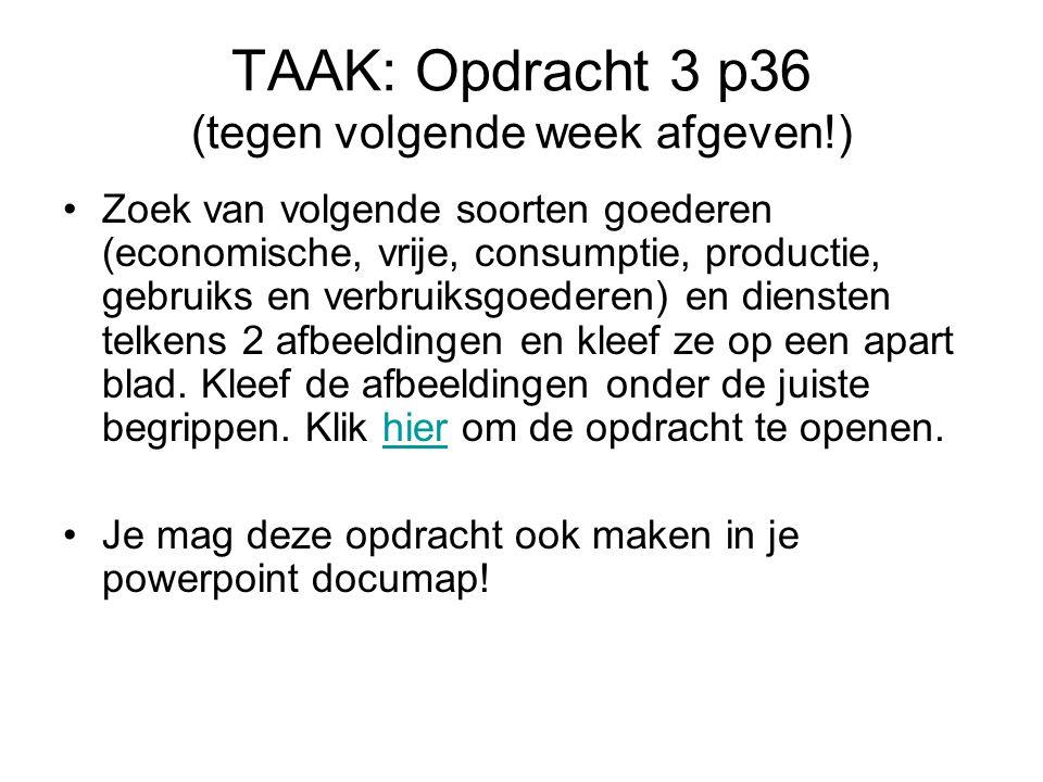 TAAK: Opdracht 3 p36 (tegen volgende week afgeven!)