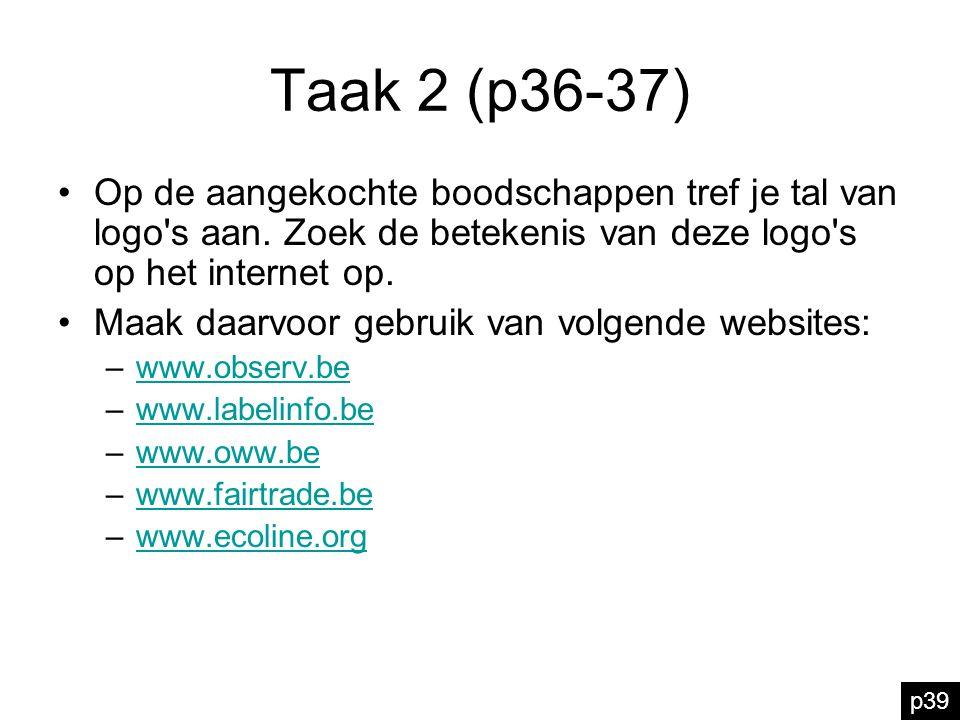 Taak 2 (p36-37) Op de aangekochte boodschappen tref je tal van logo s aan. Zoek de betekenis van deze logo s op het internet op.
