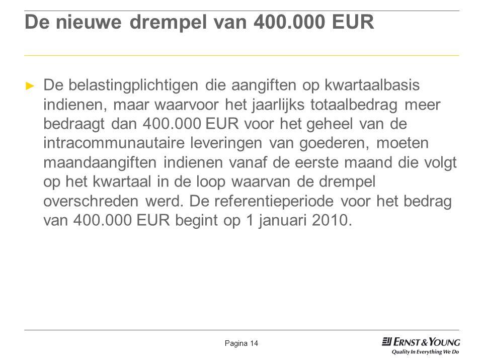 De nieuwe drempel van 400.000 EUR