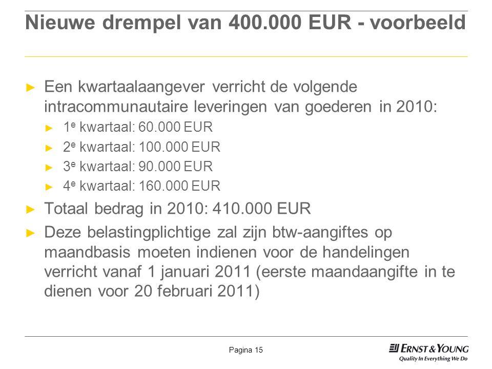 Nieuwe drempel van 400.000 EUR - voorbeeld