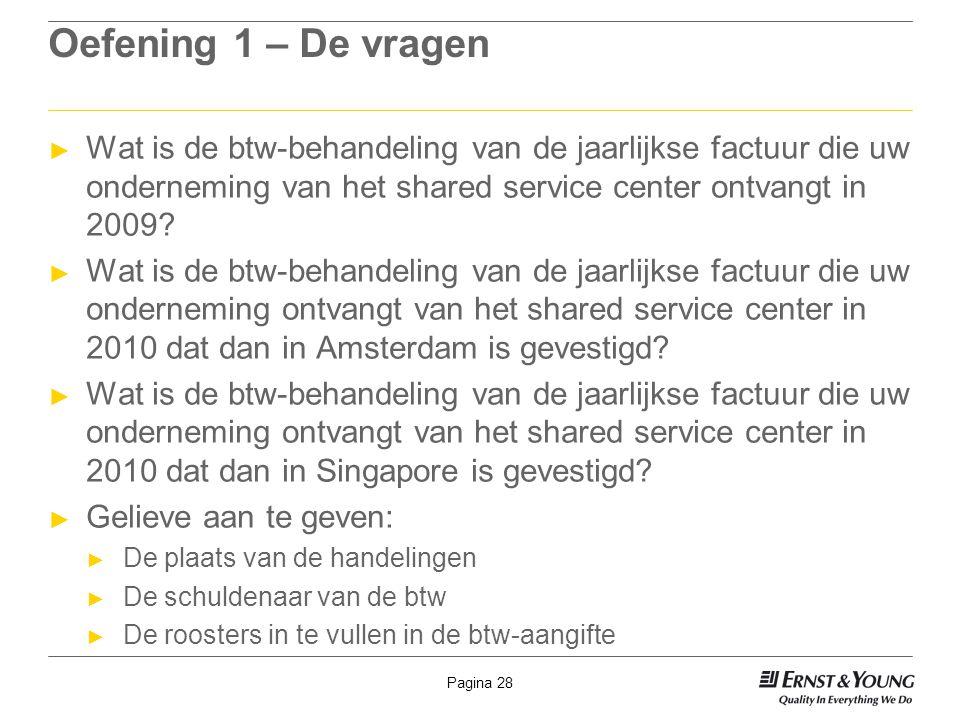 Oefening 1 – De vragen Wat is de btw-behandeling van de jaarlijkse factuur die uw onderneming van het shared service center ontvangt in 2009