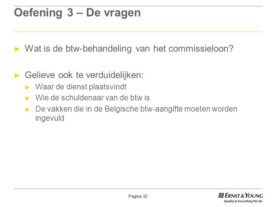 Oefening 3 – De vragen Wat is de btw-behandeling van het commissieloon Gelieve ook te verduidelijken: