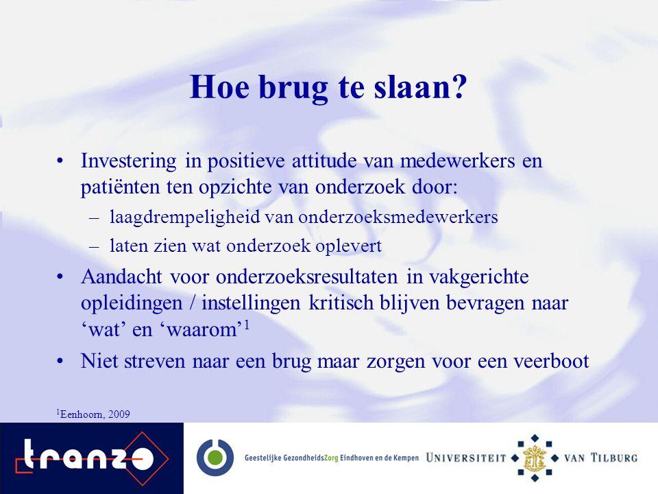 Hoe brug te slaan Investering in positieve attitude van medewerkers en patiënten ten opzichte van onderzoek door: