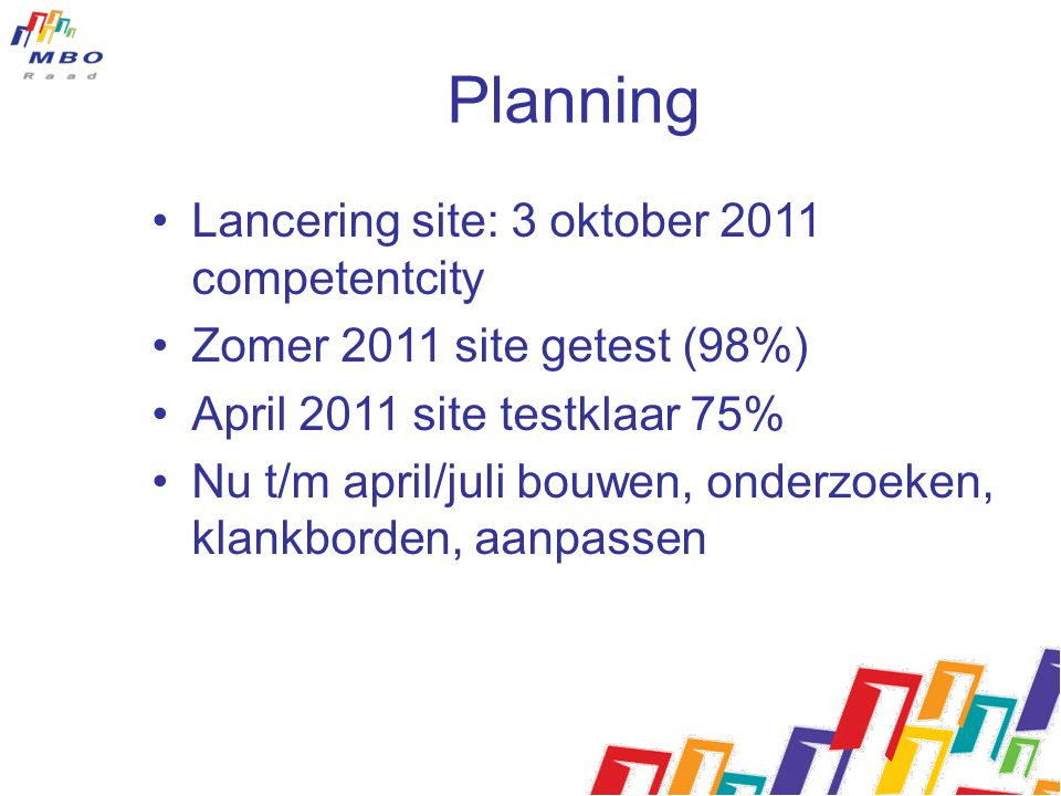 Planning Lancering site: 3 oktober 2011 competentcity