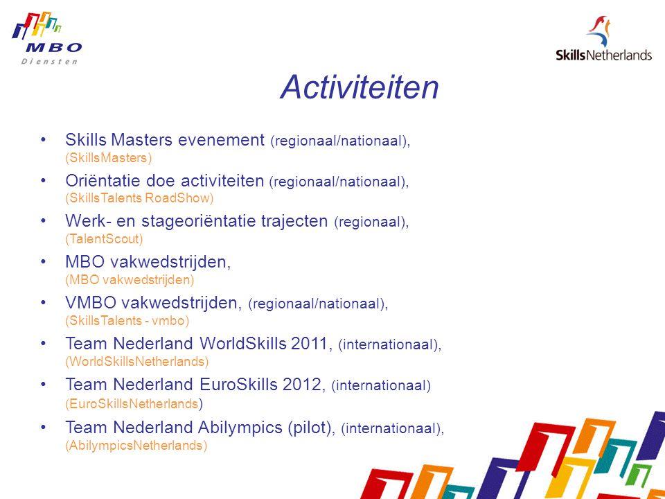 Activiteiten Skills Masters evenement (regionaal/nationaal), (SkillsMasters)