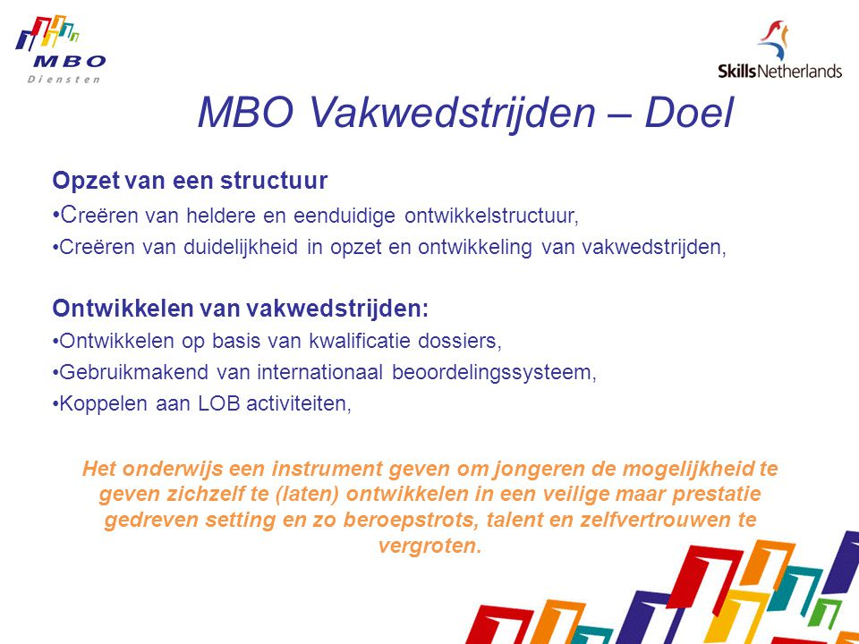 MBO Vakwedstrijden – Doel