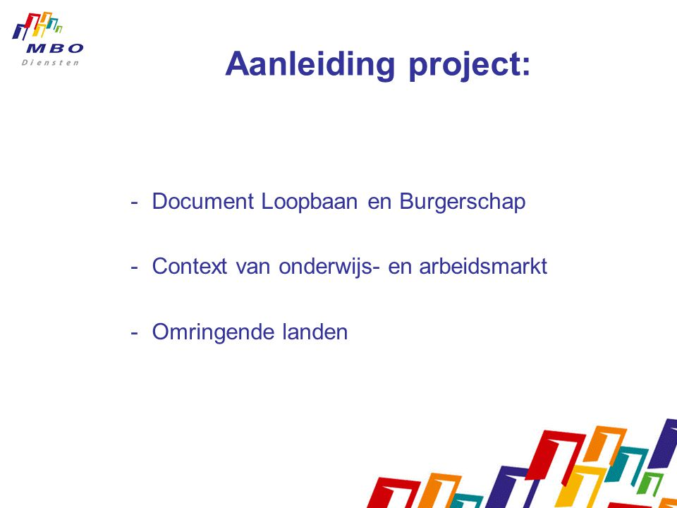 Aanleiding project: Document Loopbaan en Burgerschap