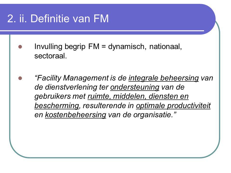 2. ii. Definitie van FM Invulling begrip FM = dynamisch, nationaal, sectoraal.