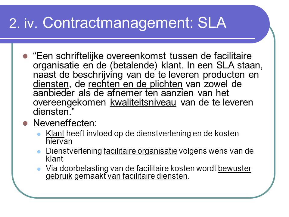 2. iv. Contractmanagement: SLA