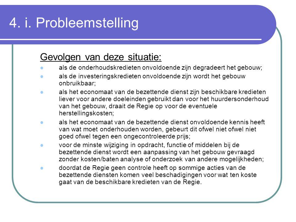 4. i. Probleemstelling Gevolgen van deze situatie: