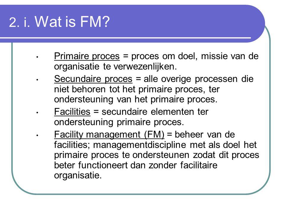 2. i. Wat is FM Primaire proces = proces om doel, missie van de organisatie te verwezenlijken.