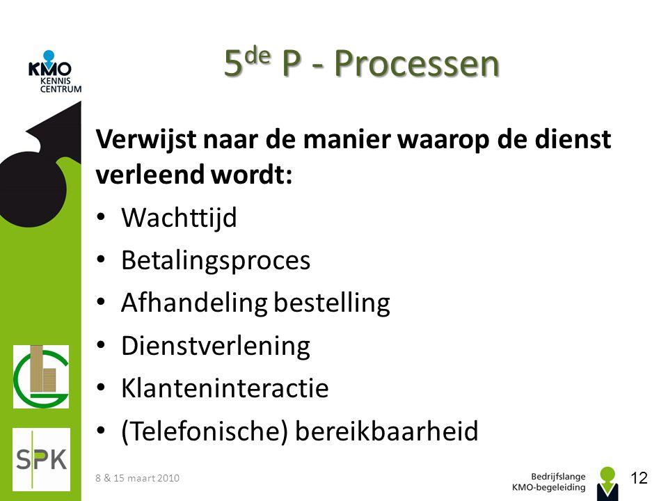 5de P - Processen Verwijst naar de manier waarop de dienst verleend wordt: Wachttijd. Betalingsproces.