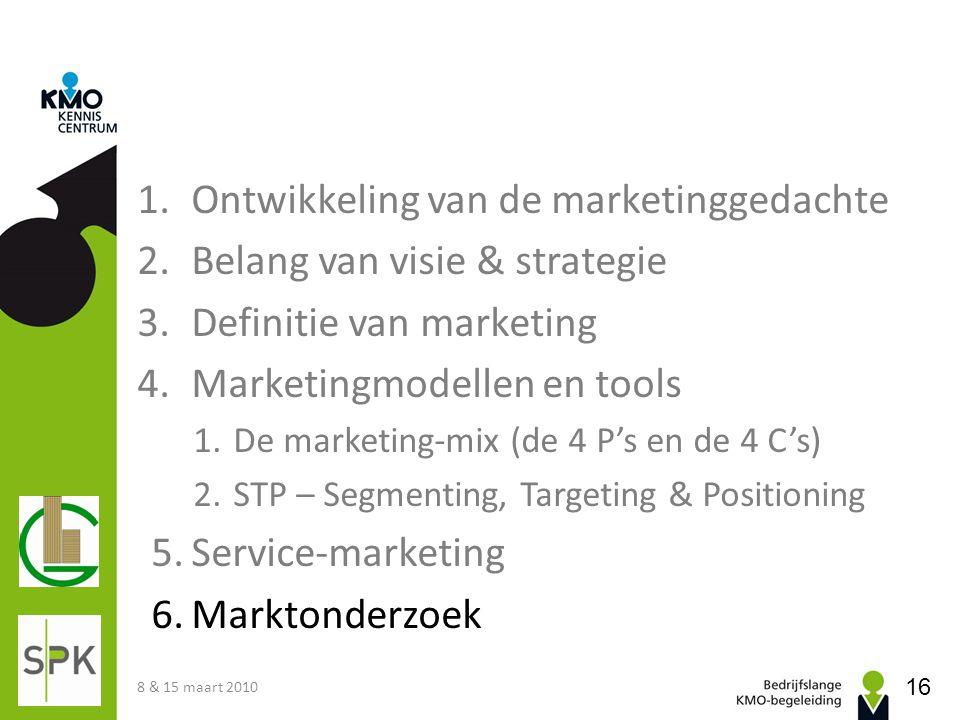 Ontwikkeling van de marketinggedachte Belang van visie & strategie