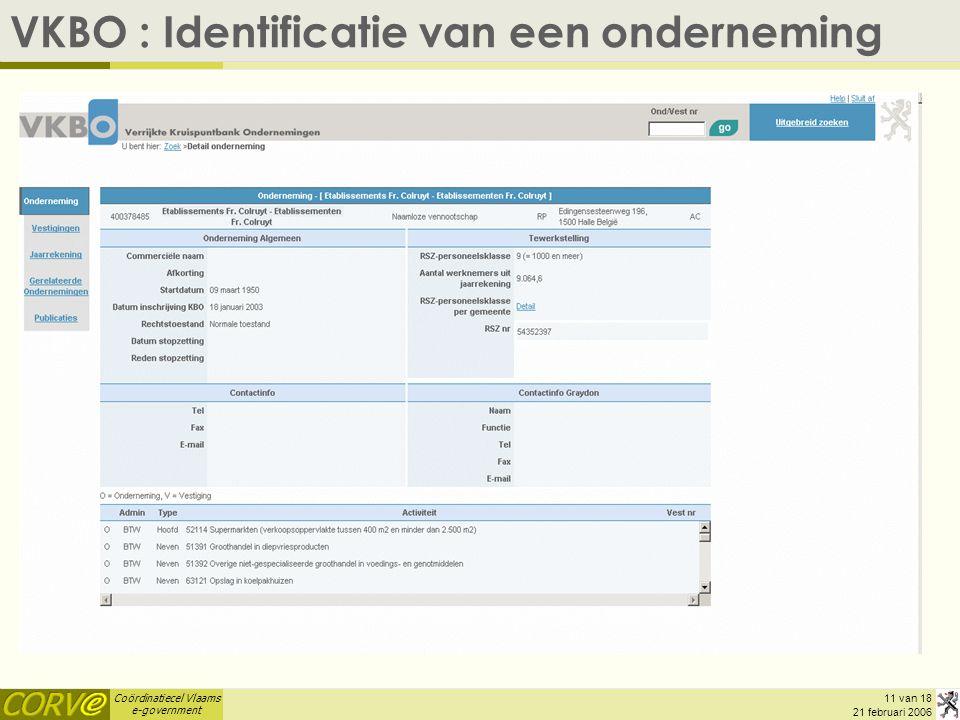 VKBO : Identificatie van een onderneming