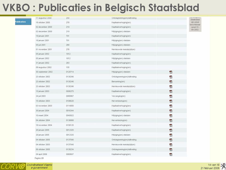 VKBO : Publicaties in Belgisch Staatsblad