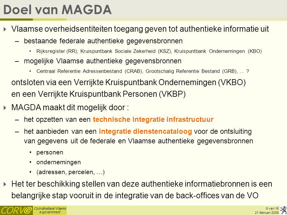 Doel van MAGDA Vlaamse overheidsentiteiten toegang geven tot authentieke informatie uit. bestaande federale authentieke gegevensbronnen.