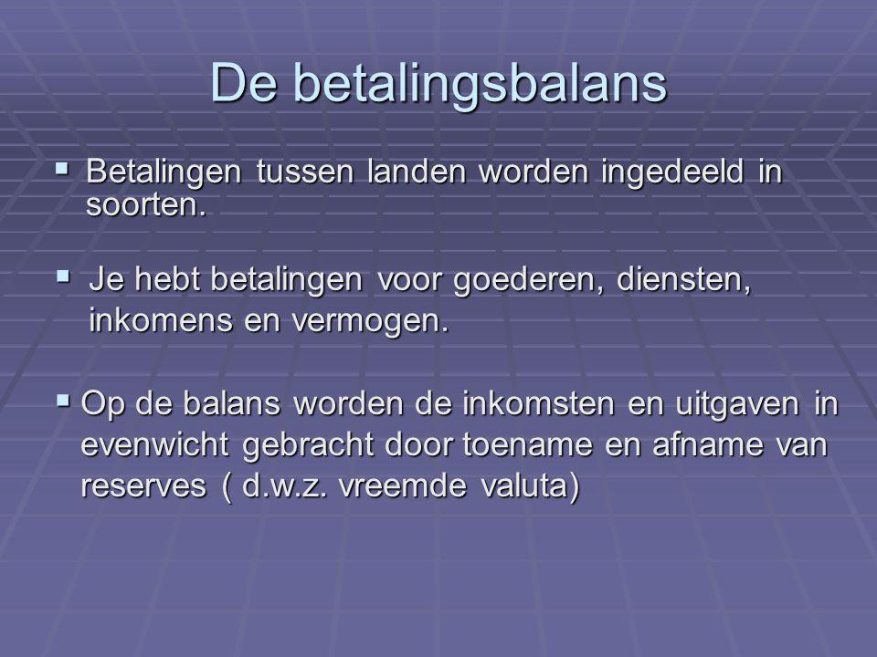 De betalingsbalans Betalingen tussen landen worden ingedeeld in soorten. Je hebt betalingen voor goederen, diensten, inkomens en vermogen.